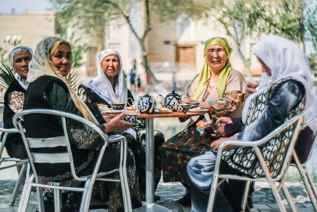 Uzbekistan ladies drinking tea in Bukhara, Uzbekistan