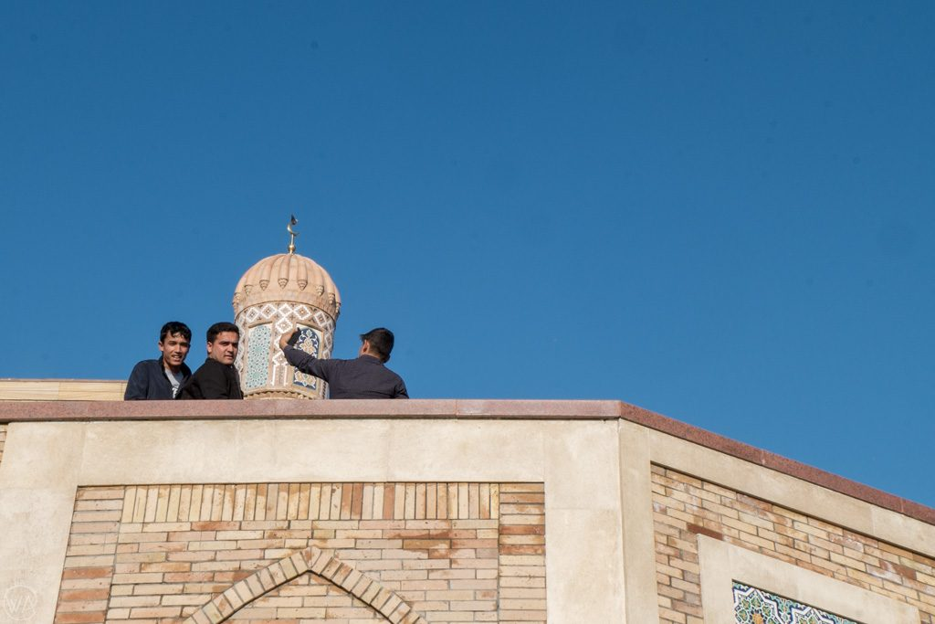 Locals taking selfies at Hazrat Khizr Mosque, Samarkand, Uzbekistan