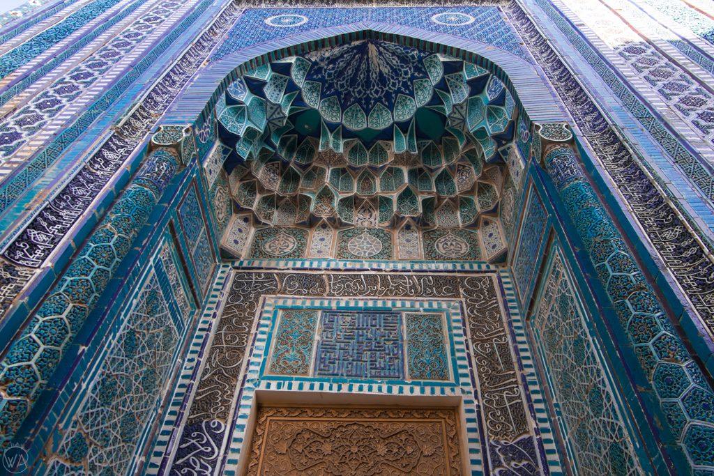 Details of Shah-i-Zinda Necropolis in Samarkand, Uzbekistan