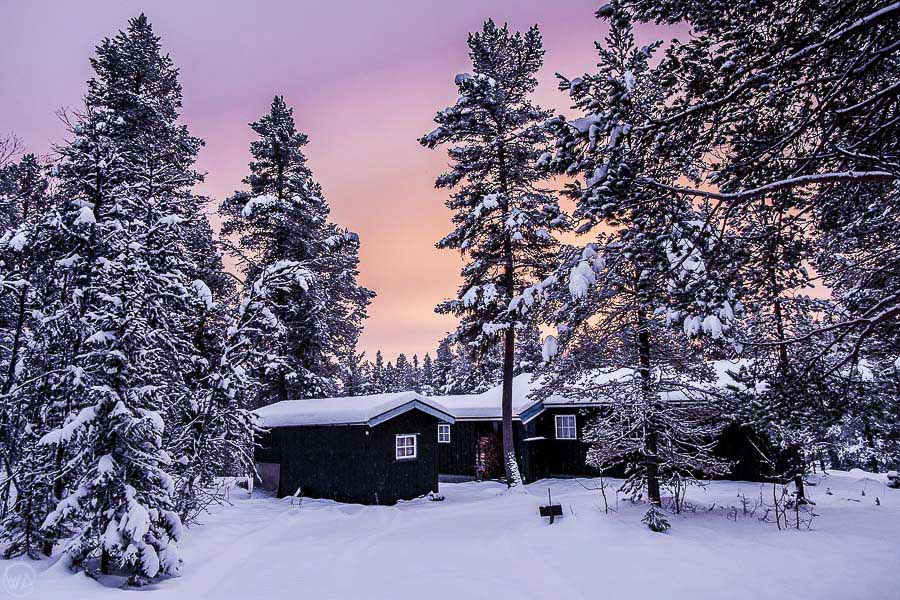 Mountain cabin in Norway in the winter