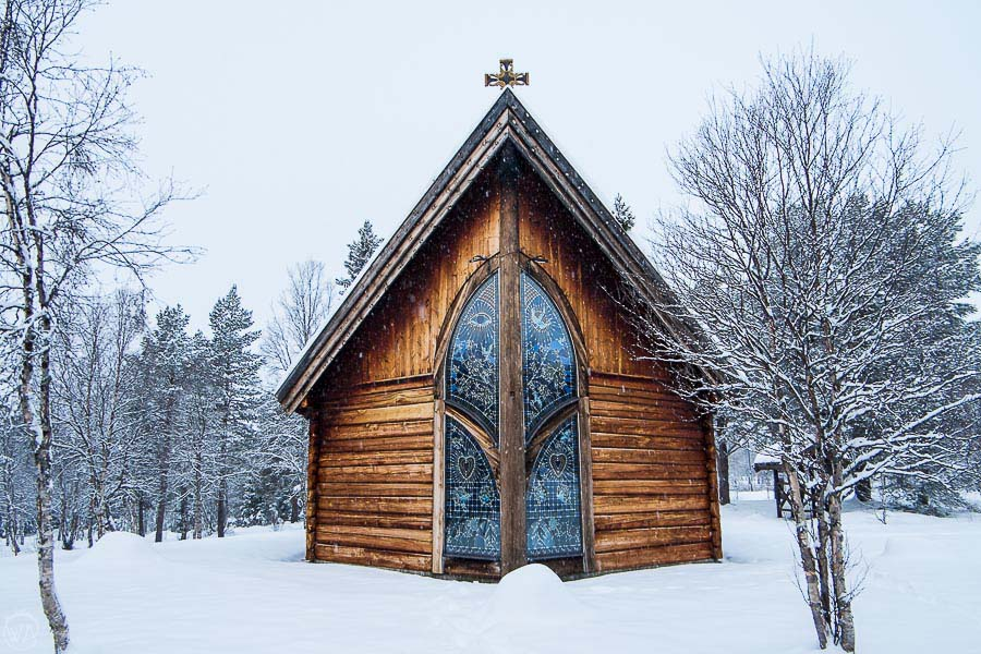 wooden church in Norway in the winter