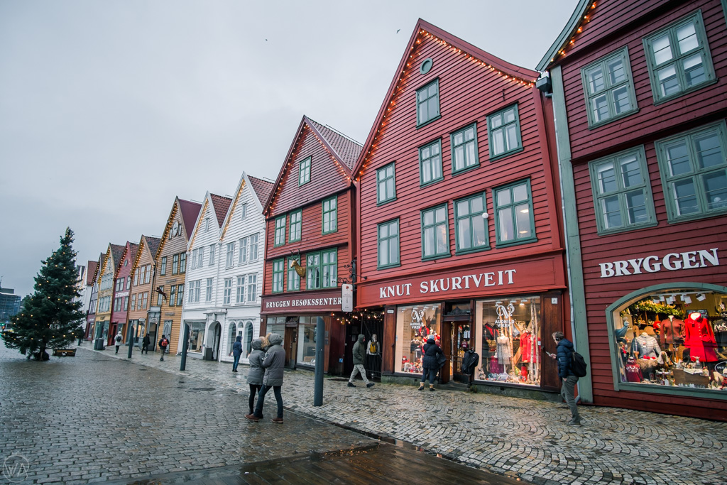 Bryggen in Bergen in winter, Norway