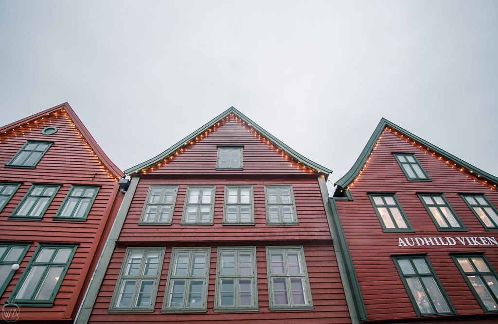 Wooden houses of Bryggen in Bergen, Norway in winter