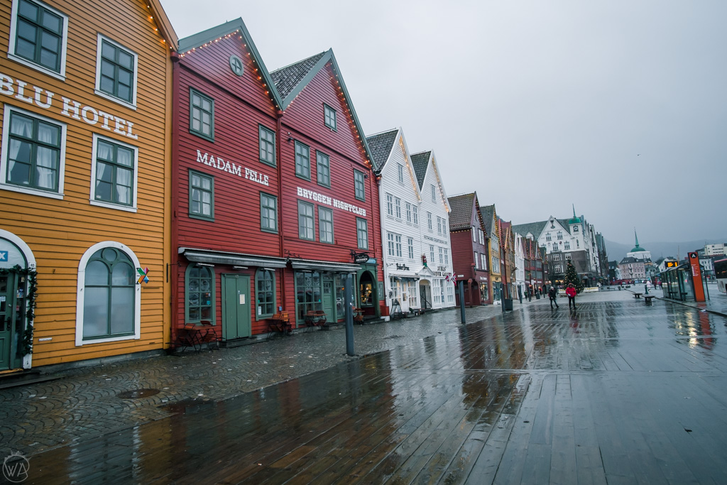 Bryggen in a rainy day in Bergen winter