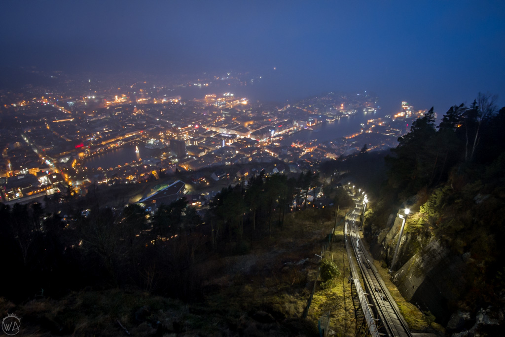 Fløibanen funicular at night in Bergen in winter