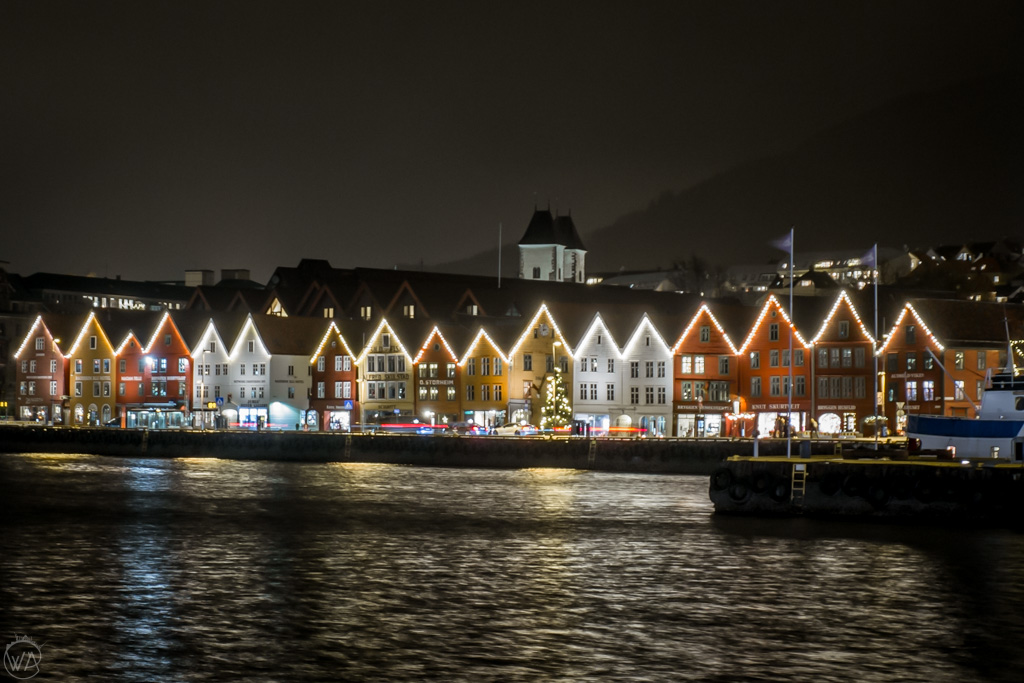 A view to Bryggen wooden houses in Bergen in winter at night