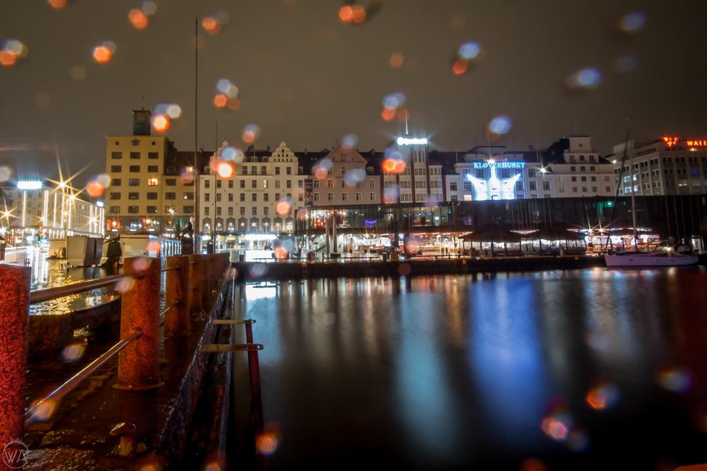 Rainy harbour in Bergen in winter