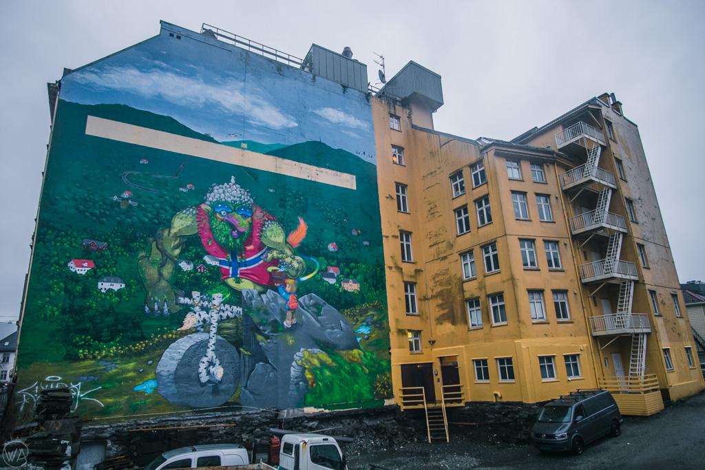 Troll mural in Bergen in winter