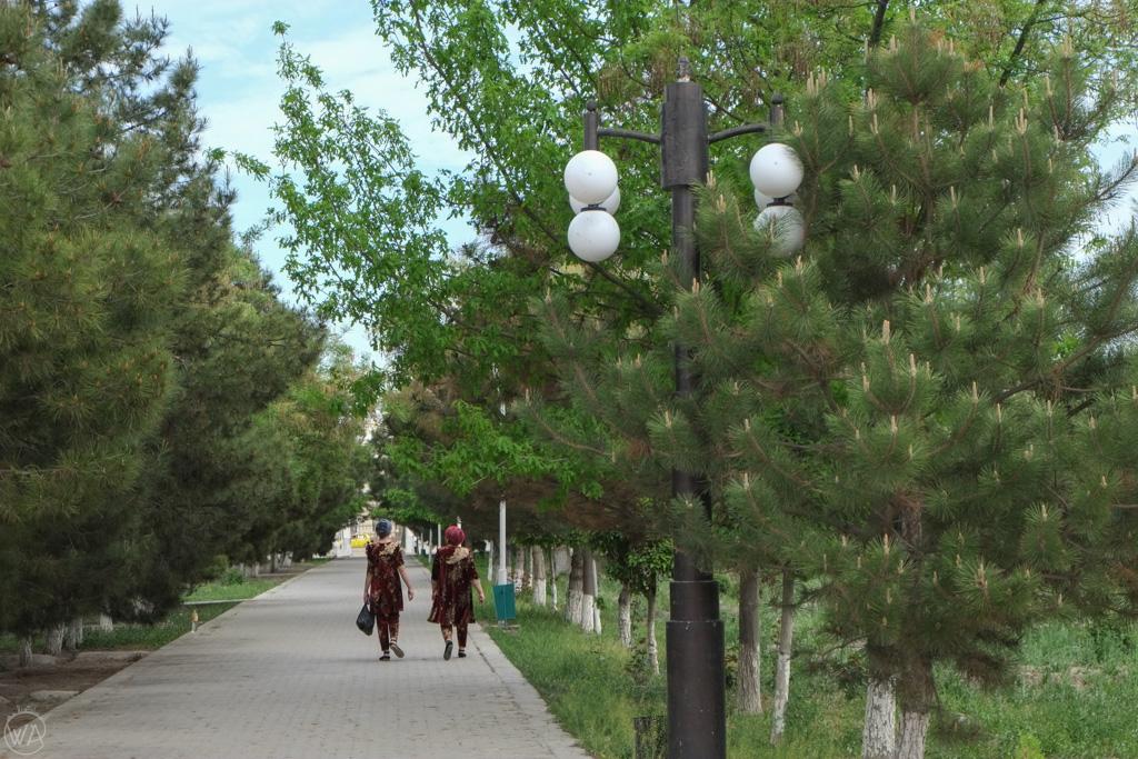 Walking around the Samonids Recreation Park, Bukhara, Uzbekistan