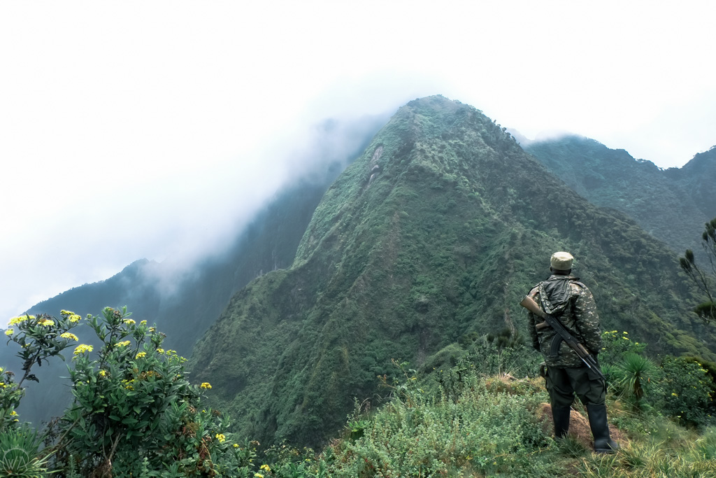 Armed guard while hiking in Uganda, Mount Sabyinyo
