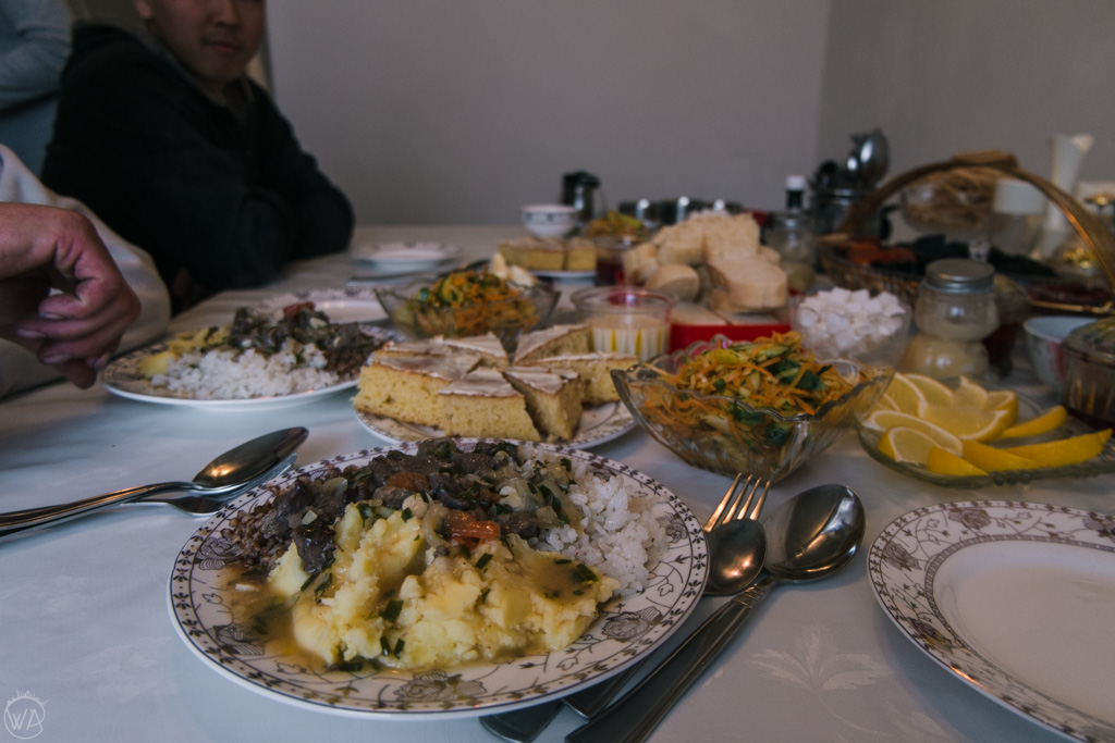 Traditional Kyrgyz food in the local homestay, Engilchek town, Sary Jaz valley, Kyrgyzstan, Central Asia