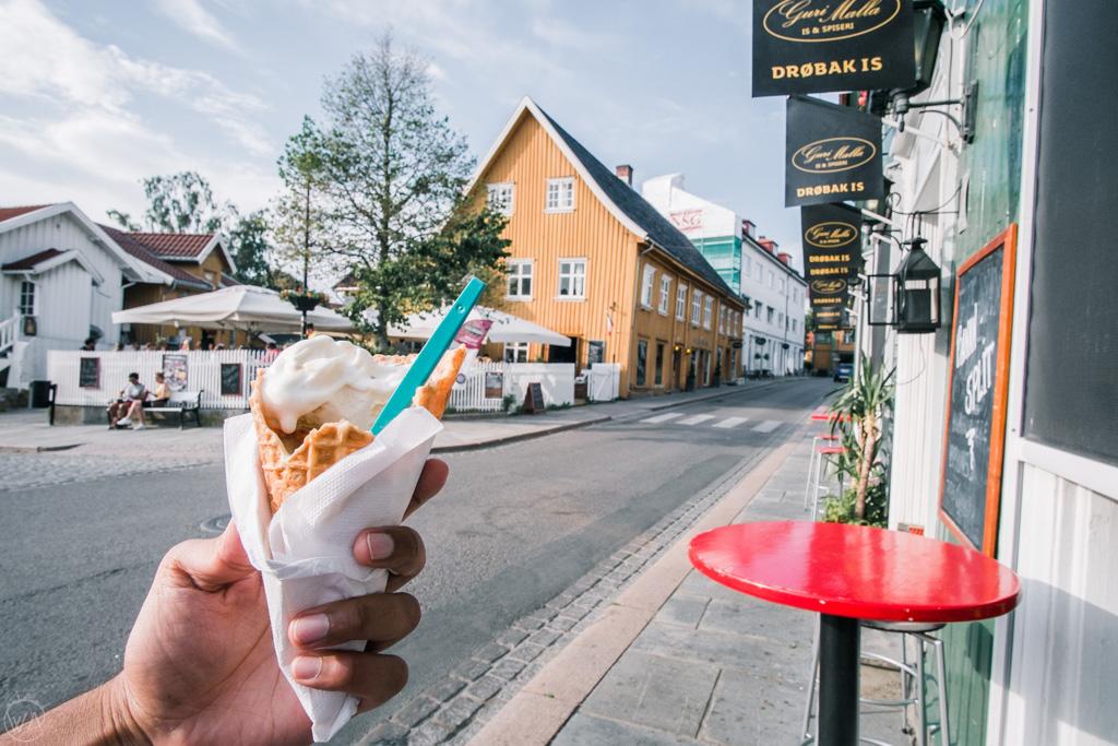 Ice cream in Drøbak, Drøbak is, Norway