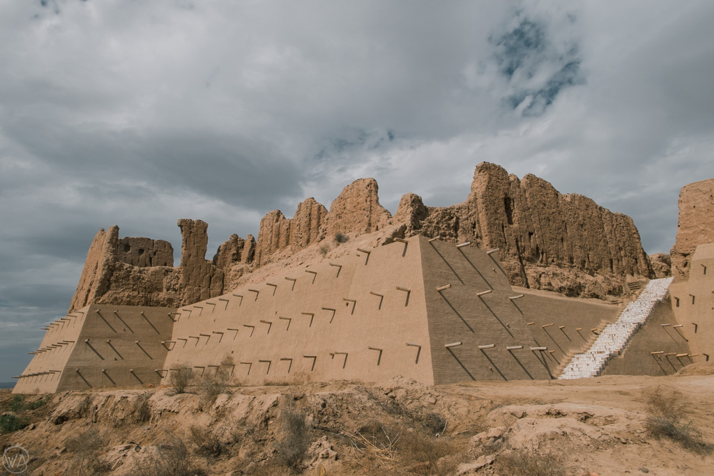 Reconstructed walls of one of the Khorezm fortresses in the Karakapstan republic, Uzbekistan