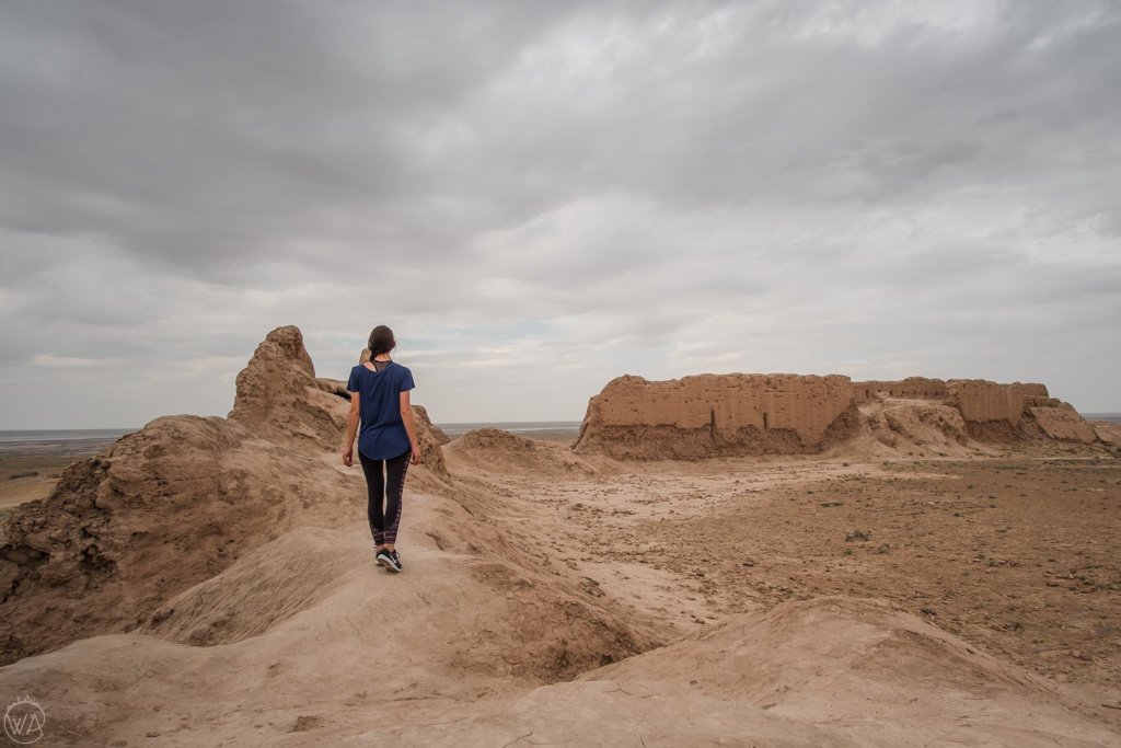Walking around the forts of Elliq Qala, Uzbekistan