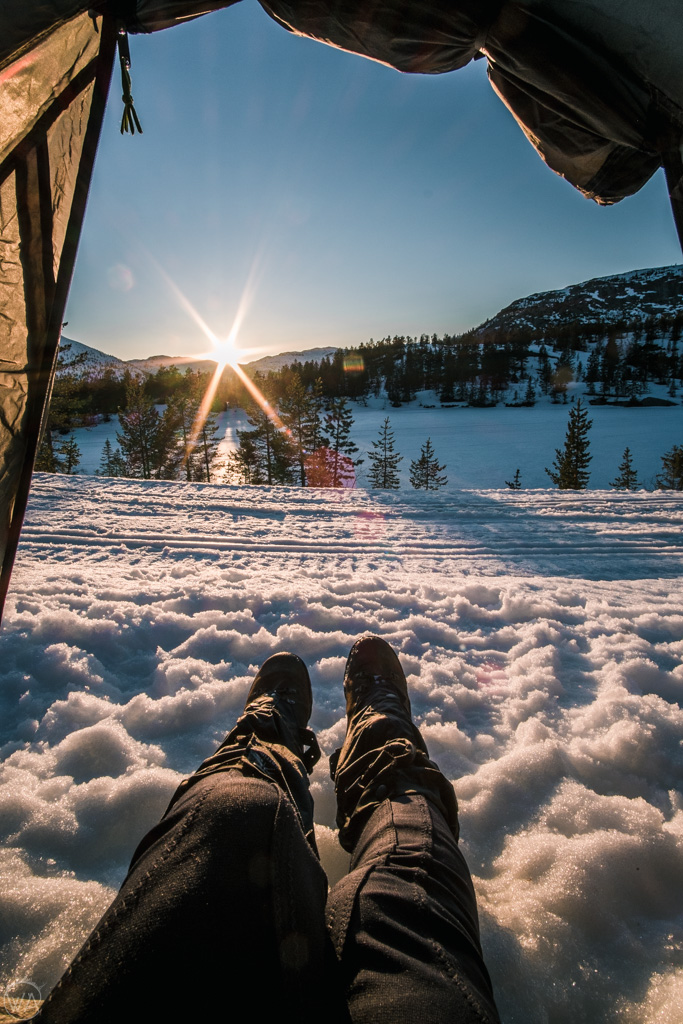 View from tent in winter, Norway
