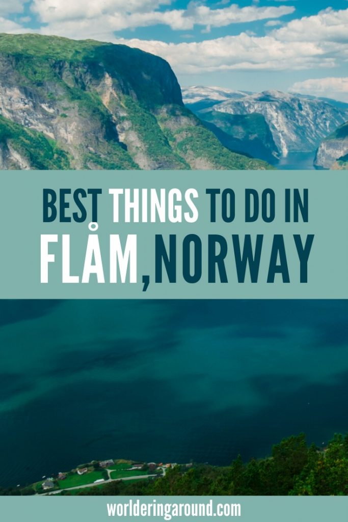 The best things to do in Flam, Norway - in the summer and in winter. Take a fjord cruise in Flam, visit waterfalls, try Flamsbana - the famous railway, follow Norway in a Nutshell, go to the train museum, go hiking with amazing views, hike the snowroad, eat cheese in a small farm town and see the smallest church in Scandinavia + more! | Worldering around #flam #aurland #norway #flamrailway #norwayinanutshell