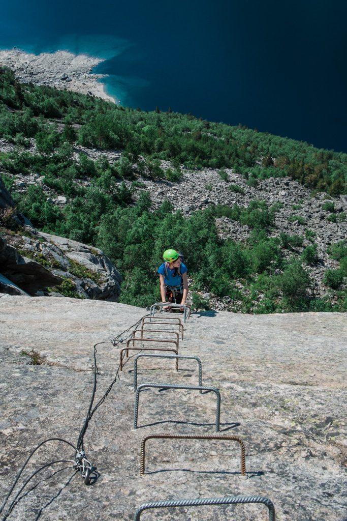 Going up Trolltunga via Ferrata