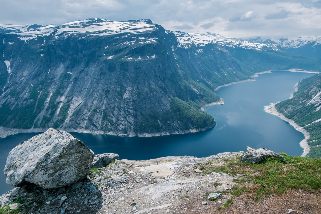 The main part of Trolltunga via Ferrata finished and here's the view