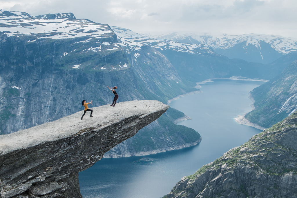 Having fun on Trolltunga, Norway