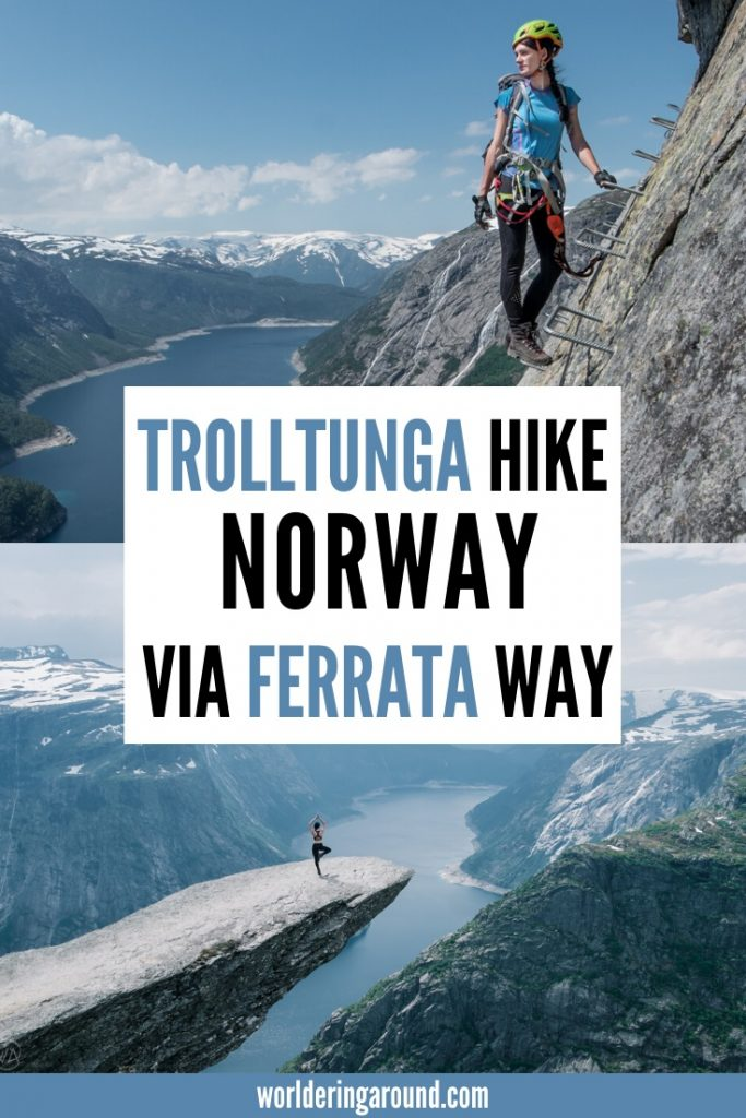 Trolltunga, Norway - the iconic rock, and one of the best hikes in Norway. How to do the Trolltunga hike and what is Trolltunga via Ferrata. Discover this stunning rock formation with all needed info to hike to Trolltunga to avoid the crowds and add some adventure to your trip. #Norway #Trolltunga #hike
