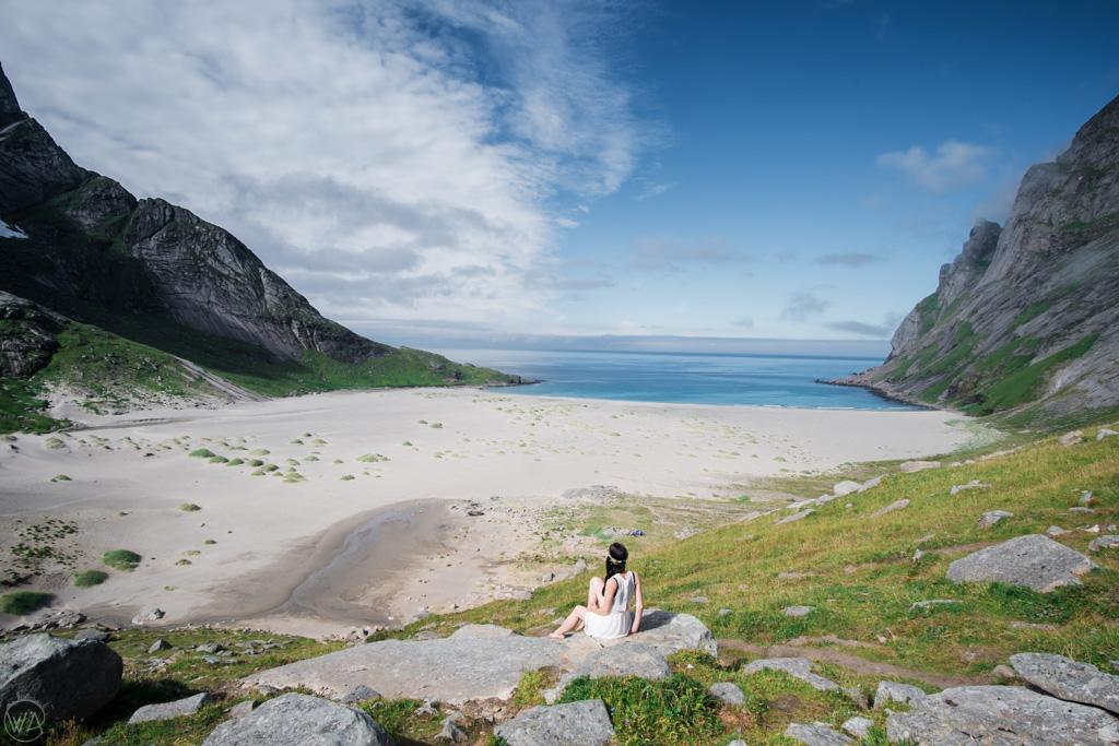 View to the Bunes Beach, Lofoten, Norway