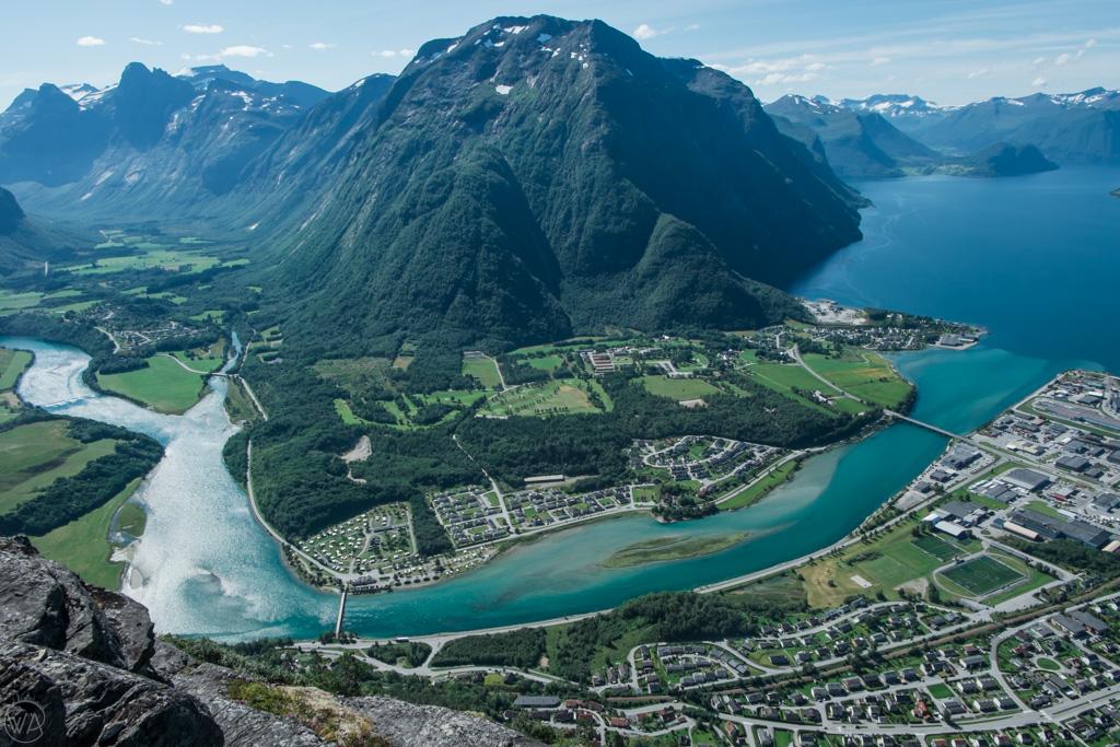View from Romsdalsstigen via Ferrata in Åndalsnes, Norway