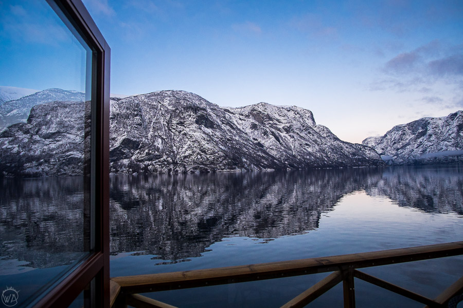 view from cabin norway hytte aurland fjord