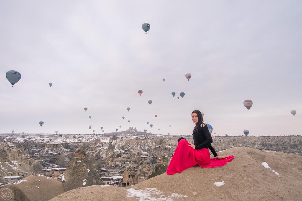 Watching hot air balloons in Cappadocia, Turkey