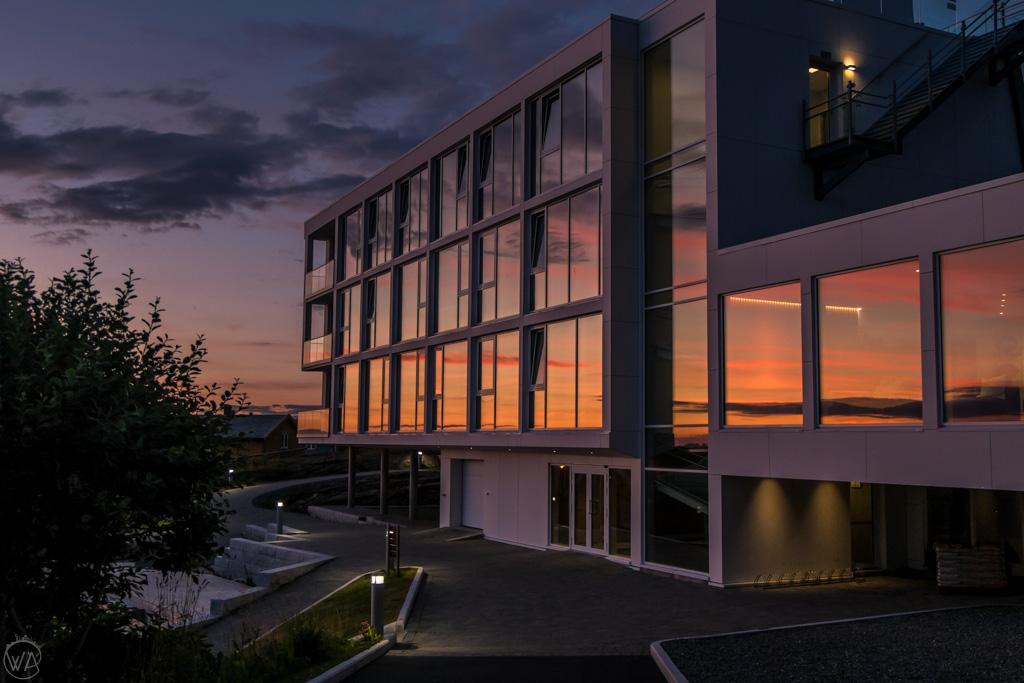 Lovund Hotel at sunset, Norway