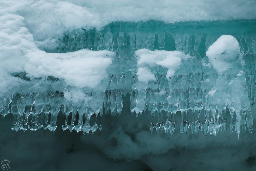 Ice formation on Tromsa river near Iskjørkja Ice Church, Fåvang, Norway