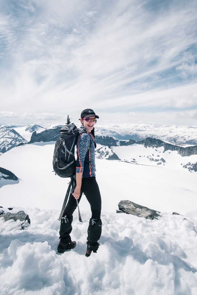 On top of Galdhøpiggen, highest mountain in Norway