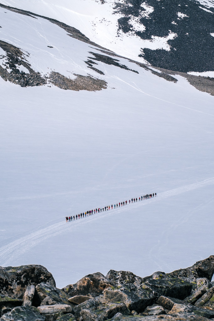 Styggebreen glacier crossing on the way to Galdhopiggen