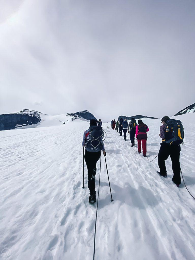 Crossing Styggebreen glacier, hiking to Galdhøpiggen